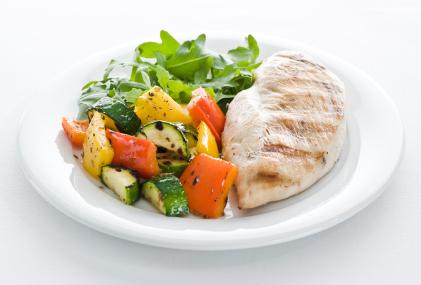 Assiette de légume et viande